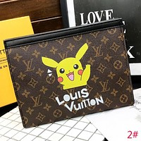 LV Louis Vuitton New fashion monogram pikachu balloon leather women file package handbag cosmetic bag 2#