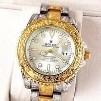 Rolex tide brand men and women models simple personality high-grade quartz watch white