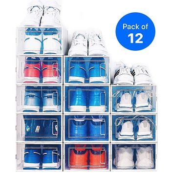 NEATLY Shoe Organizer - Stackable Shoe Racks for closets and entryway Shoe Storage cabinet - 12 COLLAPSIBLE Cube Storage bins for mens shoes, women shoes sneakers - Clear plastic shoe boxes (Medium) Medium