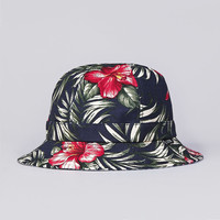 Flatspot - Less Flower Pattern Military Hat Navy / Blue Stripe