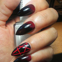 Gothic Black/Red Stiletto Pentagram Nails - False Ombre Stiletto Nails - Fake Goth Acrylic Nails - Press/Glue on Sexy Witchy Claws