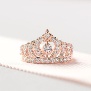 Sterling Silver Rose Gold Crown Ring - Princess Crown Ring - Sterling Silver Tiara Ring - Crown Engagement Ring - Unique Engagement Ring