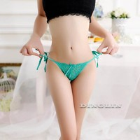 Mesh Bow Style Hollow Out Crochet V-String Thong Panties
