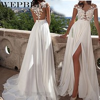 Women Elegant Dress V-neck White Wedding Lace Floor Length Dresses