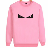 FENDI 2018 autumn and winter tide brand men and women loose round neck pullover sweater Pink