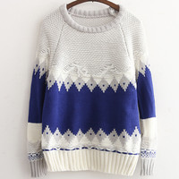 Blue Tribal Pattern Loose Sweatshirt