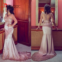2017 Floor Length Prom Dresses Long Sleeve Sheer Neck Lace Appliques Embroidery Formal Evening Dresses Skirt Train Satin