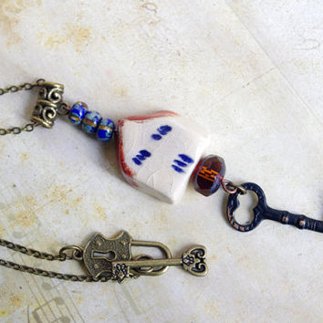 Key necklace , ceramic House necklace , Vintage style jewelry , home pendant necklace , cabin charm necklace , cottage chic
