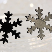 Snow Flake  Earrings (made from Upcycled Vinyl Record/ LP Jewelry.) studs.