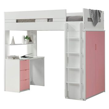 """Loft Bed with Desk - 78"""" X 41"""" X 70"""" White And Pink Laminated Veneer Lumber Loft Bed"""
