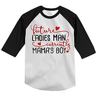 Shirts By Sarah Boy's Future Wing Man Current Mommy's Boy Funny 3/4 Sleeve T-Shirt