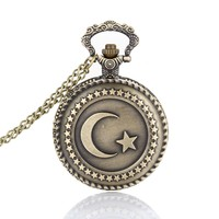 Lover Pocket Watch Antique Bronze Turkish Flag Design Moon and Star Theme Quartz Pocket Watch With Necklace Chain Gift LL@17