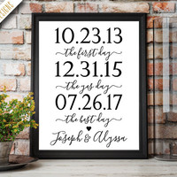 First Day, Yes Day, Best Day Custom Print. Our Love Story. Engagement Party Decorations. Wedding Decorations. Wedding Sign. Printable.