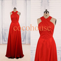 Halter Red Sexy Long Prom Dresses Fashion Bridesmaid Dresses Party Dresses Evening Dresses Wedding Party Dresses Red Carpet Dress