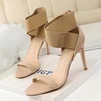 New Summer Sandals cross tie Elastic band Ankle Strap Sandals Women Pumps Fashion Sexy Super High Heels Open Toe Thin Heel Shoes