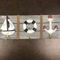 Wood Sailboat, Life Ring And Anchor Wall Plaque With Hooks - Coastal Gifts & Decor
