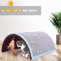 Cat Scratch Board Tunnel Funny Pet  teaser interactive Toys Hide-seek Toy House Carpet Arch Cat Scratch toy with feather