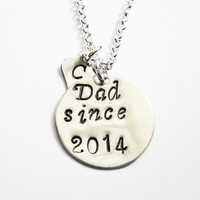 Personalized Dad Necklace, Silver Initial Charm Necklace, dad jewelry, tiny initial daughter, son Initial Necklace custom, dad since dad est
