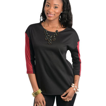 Two Tone Quarter Sleeve Top
