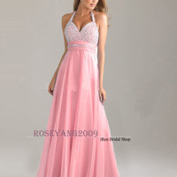 New Halter Long Chiffon Evening Dresses Party Formal Prom Dress Bridesmaid Dress