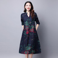 Classic Retro New Chinese Style Spring Women Loose Big Yards Peony Print V Neck Long Sleeve A Line Fall Dress