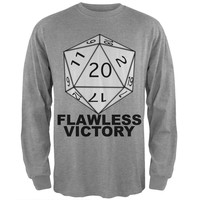 Flawless Victory D20 Role Playing Game Grey Adult Long Sleeve T-Shirt