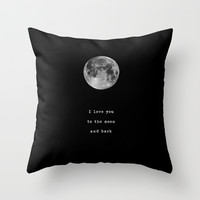 To the moon and back Throw Pillow by Deadly Designer