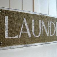 Laundry Room Wood Sign Plaque Burlap White Distressed Shabby Sheik
