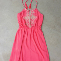 Coral Starflower Dress [7226] - $36.00 : Feminine, Bohemian, & Vintage Inspired Clothing at Affordable Prices, deloom
