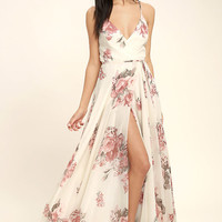 Elegantly Inclined Cream Floral Print Wrap Maxi Dress