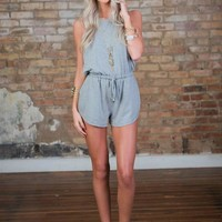 About a Girl Romper Gray