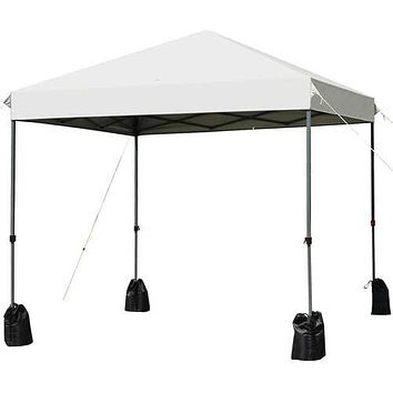 8'x8' Outdoor Pop up Canopy Tent  w/Roller Bag-White - Color: White