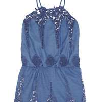 Miguelina - Cicely crocheted cotton-blend playsuit
