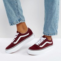 Vans Old Skool Platform Trainers In Burgundy at asos.com