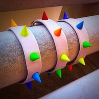 Rainbow Studded  Genuine Leather Pride Bracelet -  White Leather Strap Style