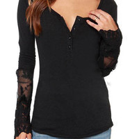 Black Buttoned V-Neckline Blouse with Floral Sheer Lace Detail