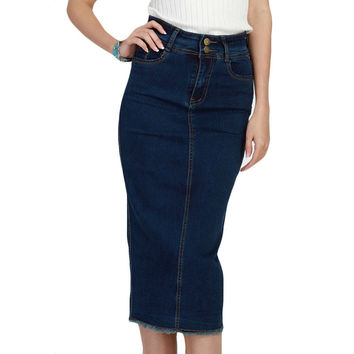 Denim Skirt Vintage Button High Waist Pencil Saia Blue Slim Women Skirts Plus Size S-3XL Ladies Office Sexy Jeans Faldas
