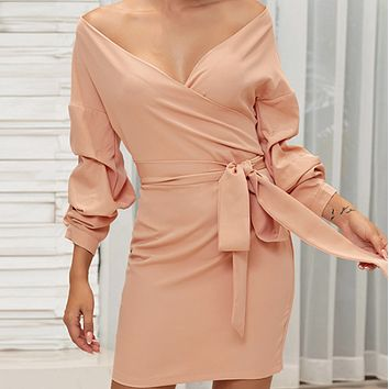 Sexy V-neck tie bubble long-sleeved pleated hip skirt