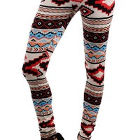 Printed Leggings - Blue/Red