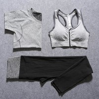 2017 New Women Yoga Sport Suit Bra Set 3 Piece Female Short-sleeved Summer Sportswear Gym Running Workout Clothes