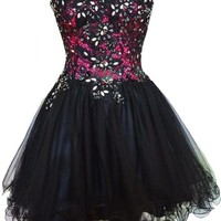 Sunvary Black Lace Sweetheart Short Cocktail Homecoming Dresses Evening Gowns