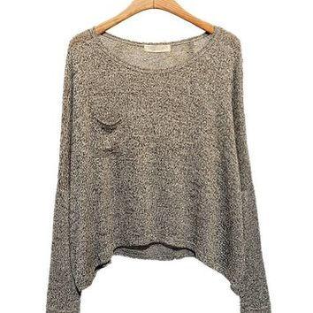 ARJOSA Women Knitted Round Neck Batwing Long Sleeve Pullovers Sweater