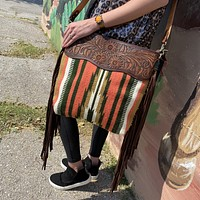 Coral Aztec Saddle Blanket Purse with Tooled Strap