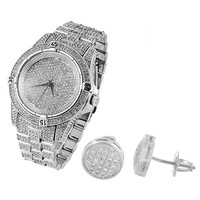 Hip Hop Designer Iced Out White Gold Finish Men's Techno Pave Watch &  Earrings Combo Set