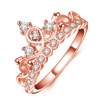 Romantic Design Crown Shaped Rose Gold Plated Rings High Quality AAA Cubic Zirconia Filled Shiny Charming Ring Jewelry Accessory -03328