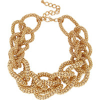 River Island Womens Gold tone chunky knotted statement necklace