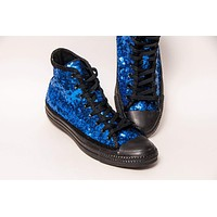 Sapphire Blue Starlight Sequin Canvas High Top Sneakers