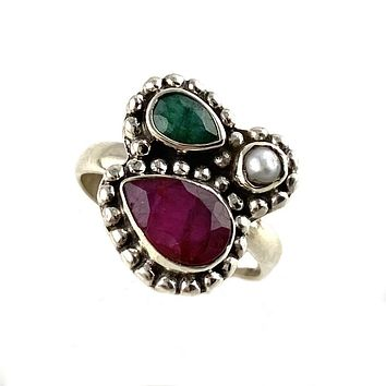Pearl, Ruby & Emerald Sterling Silver  Ring