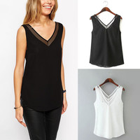 Black V-Neck Chiffon Blouse with Mesh Detail