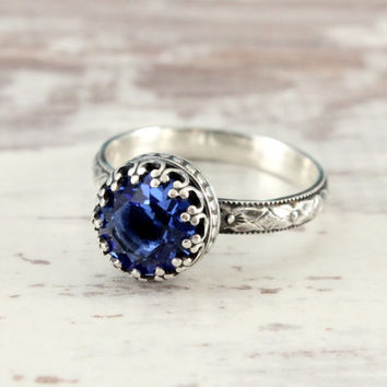 Blue ring, sterling silver, Swarovski sapphire crystal, vintage style, floral band, 8 mm crown setting, something blue, silver promise ring